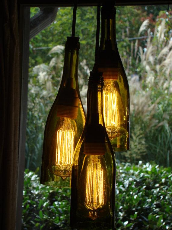upcycling 15 ideen f r lampen aus flaschen. Black Bedroom Furniture Sets. Home Design Ideas