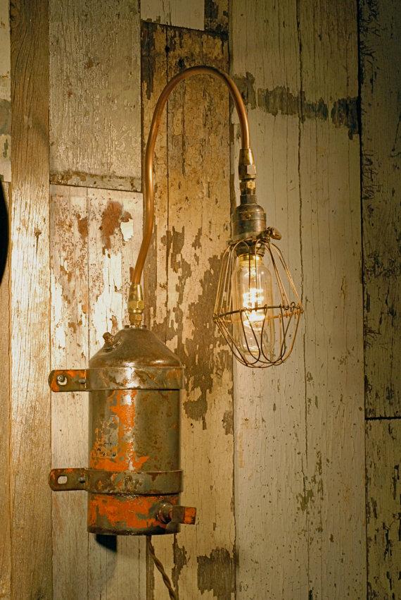 Vintage Ölfilter Wandleuchter (Bild: californiarediscover via Etsy.com)